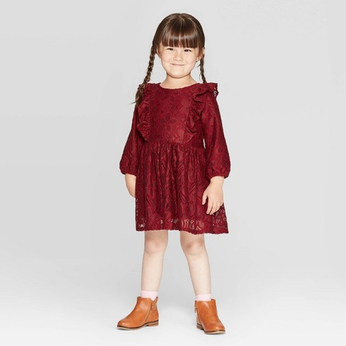 Toddler Girls' Lace Dress - Cat & Jack™ Maroon - image 1 of 3
