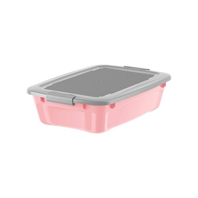 Bella Storage 27qt Build & Store Medium Latching Tote Pink