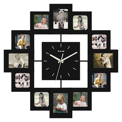 Wall Clock with 12 Frames Black - Creative Motion Industries