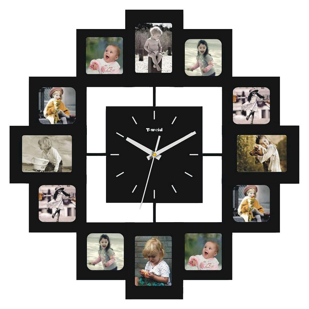 Image of Wall Clock with 12 Frames Black - Creative Motion Industries
