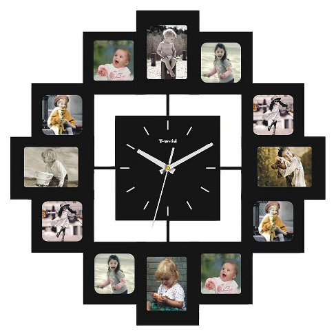 Wall Clock With 12 Frames Black Creative Motion Industries Target