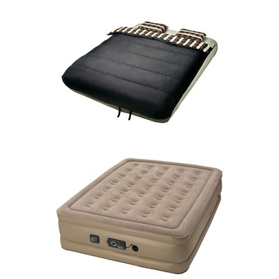 InstaBed 840017 Raised Queen Air Bed Mattress, Beige w/ 6 Piece Camping Bedding