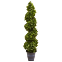 Boxwood Spiral Topiary with Planter - Nearly Natural