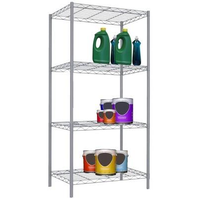 Home Basics 4 Tier Steel Wire Shelf, Grey