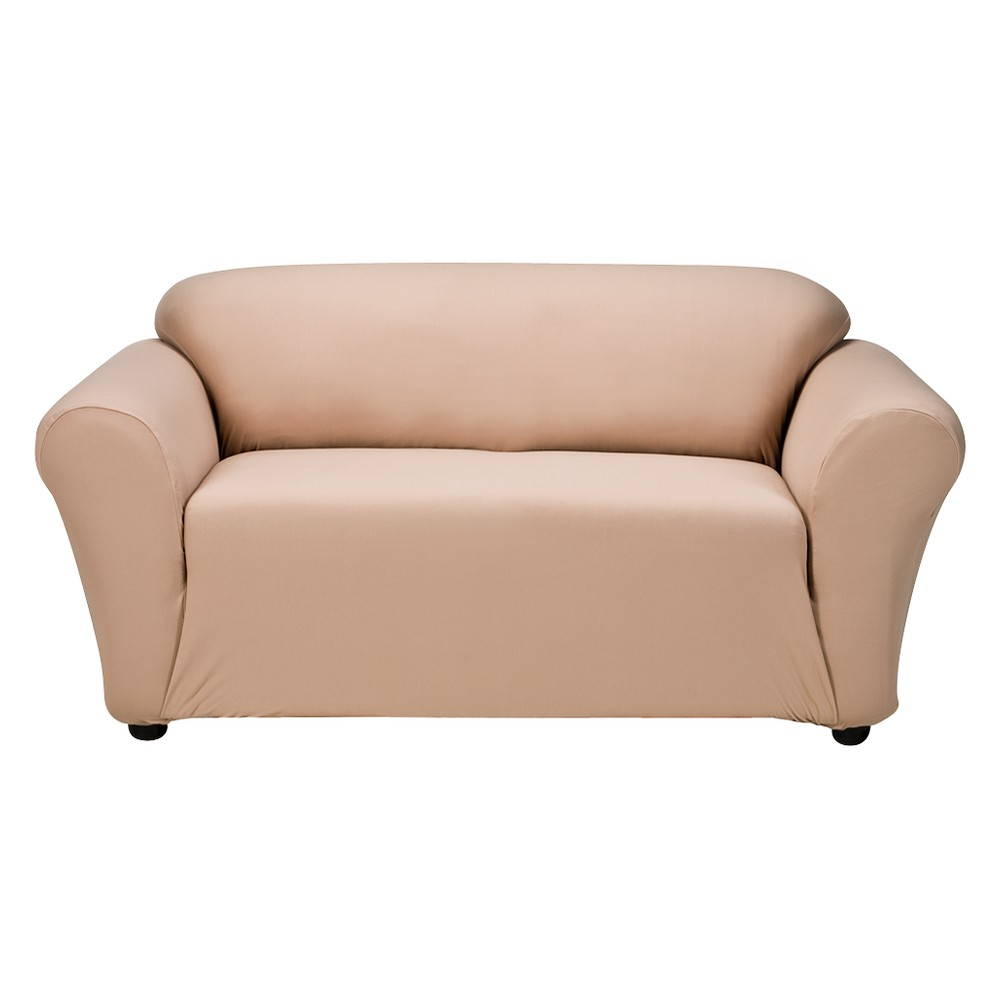 Tan Casual Home Stretch Twill Loveseat Slipcover