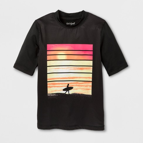 Boys' Surf Dude Rashguard - Cat & Jack™ Black - image 1 of 1