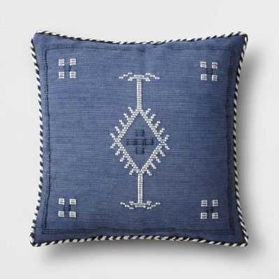 Woven Cotton Square Throw Pillow with Braid Trim Blue - Threshold™
