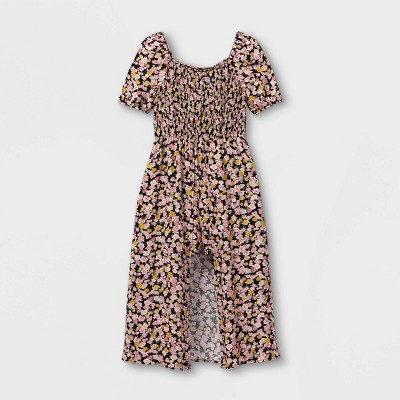 Girls' Smocked Walk-Through Short Sleeve Jumpsuit - art class™