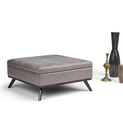 Merveilleux Ethan Square Coffee Table Storage Ottoman Distressed Gray Taupe Faux Air  Leather   Wyndenhall