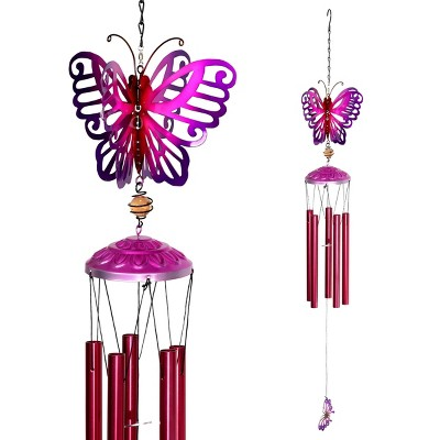 """42.91"""" Metal Spinning Butterfly Wind Chime Purple - Exhart"""