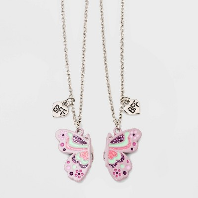 Girls' 2pk Magnetic Butterfly and BFF Necklace Set - Cat & Jack™ Dark Gray
