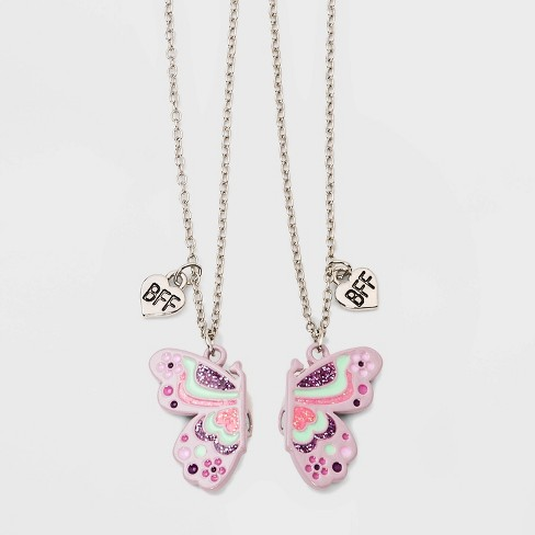 Girls 2pk Magnetic Butterfly And Bff Necklace Set Cat Jack Dark Gray Target
