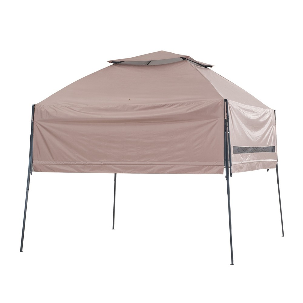 16'x16' Round Double Roof Gazebo Brown - Sunjoy, Black