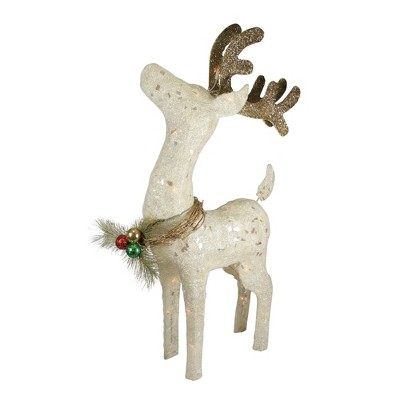 "Northlight 37"" White and Brown Lighted Sparkling Standing Reindeer Outdoor Christmas Decor"