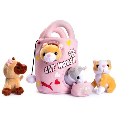 Plush Creations Cat House Carrier with 4 Soft Talking & Meowing Plush Kittens Set
