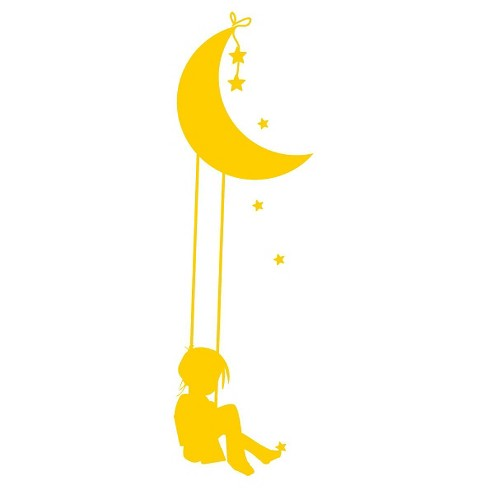 Moon Swing Wall Decal - Yellow - image 1 of 2