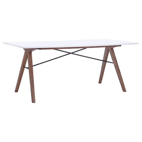 "Saw-Horse Style Mid-Century Modern 71"" Rectangular Dining Table - Walnut/Black/White - ZM Home - image 1 of 4"