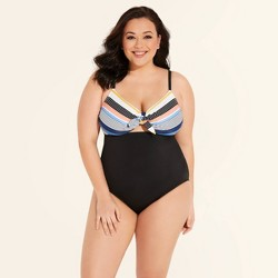 Women's Plus Size Slimming Control Tie Front Cut Out One Piece Swimsuit - Beach Betty By Miracle Brands Navy Stripe