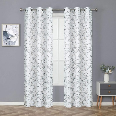 Kate Aurora Living Cherry Blossom Designed Grommet Top Window Curtains - 52 in. W x 84 in. L, Gray