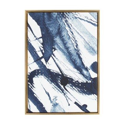Kate & Laurel 33 x23  Sylvie Indigo Watercolor Abstract Print Framed Wall Canvas Gold