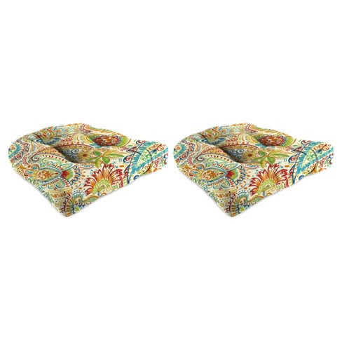 Outdoor Set Of 2 Wicker Chair Cushions In Gilford Festival  - Jordan Manufacturing - image 1 of 1