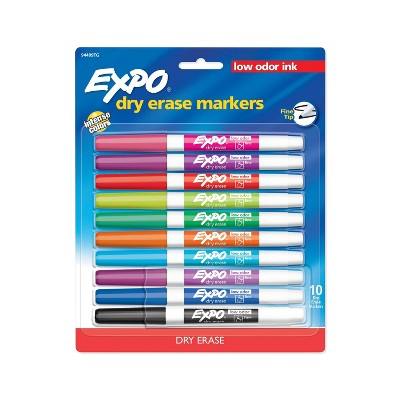 10pk Expo Fine Tip Dry Erase Markers Low Odor Multicolor Ink