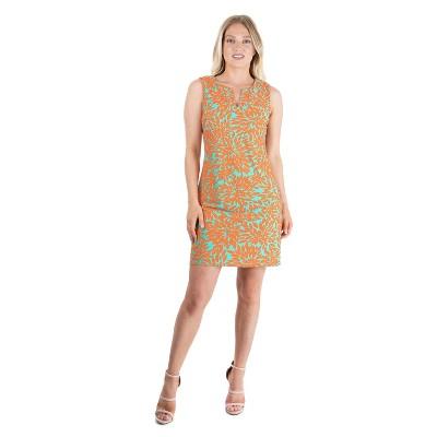 24seven Comfort Apparel Women's Orange Print Sleeveless Dress