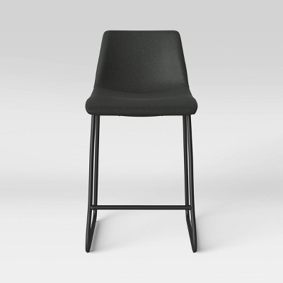 Bowden Upholstered Molded Faux Leather Counter Height Barstool Dark Gray - Project 62™