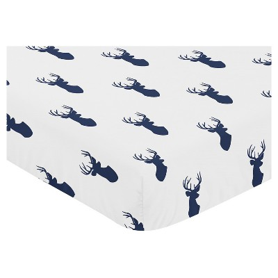 Sweet Jojo Designs Fitted Crib Sheet - Navy & White Stag