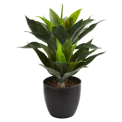 "21"" x 16"" Artificial Agave Plant in Decorative Pot Green/Black - Nearly Natural"