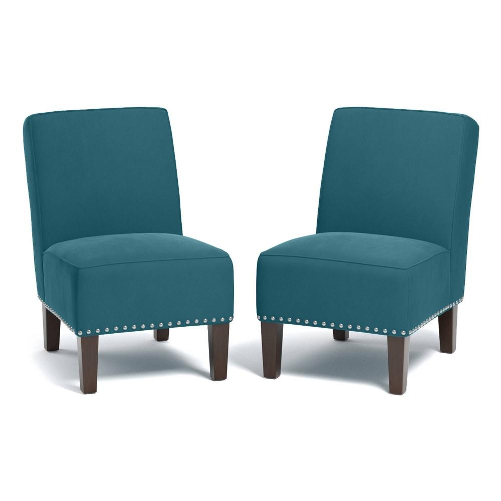 Set Of 2 Bryce Armless Chair Velvet Turquoise Handy Living