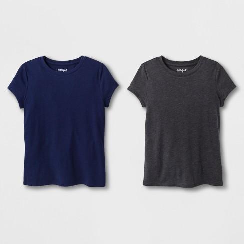 3181b7e1d Girls' 2pk Solid Short Sleeve T-Shirt - Cat & Jack™ Charcoal/Navy ...