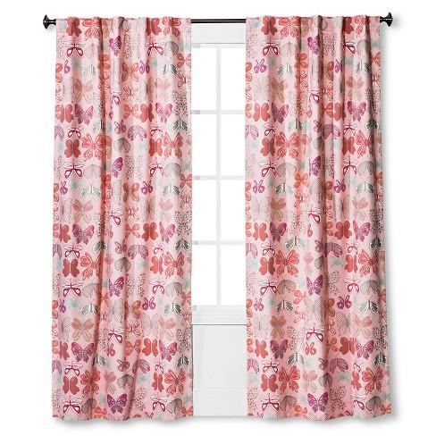 Twill Light Blocking Erfly Print Curtain Panel Pink Pillowfort