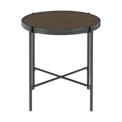 Carlo Round End Table With Wooden Top Brown - Picket House Furnishings