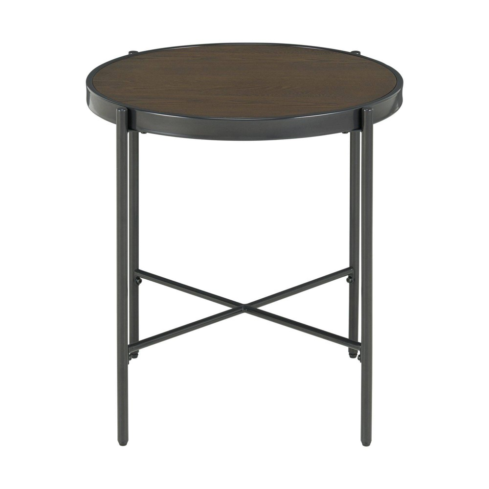 Carlo Round End Table With Wooden Top Brown Picket House Furnishings