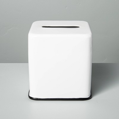 Metal Bath Tissue Box White/Black - Hearth & Hand™ with Magnolia