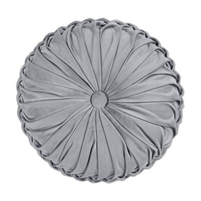 "15"" Pleated Round Throw Pillow Dark Gray - Lush Décor"