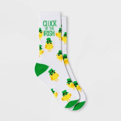 "Women's ""Cluck of the Irish"" St. Patrick's DayCrew Socks - White One Size - image 1 of 1"