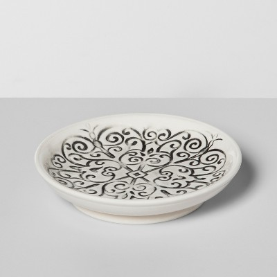 Mallorca Mosaic Distressed Debossing On Ceramic Soap Dish Black - Opalhouse™