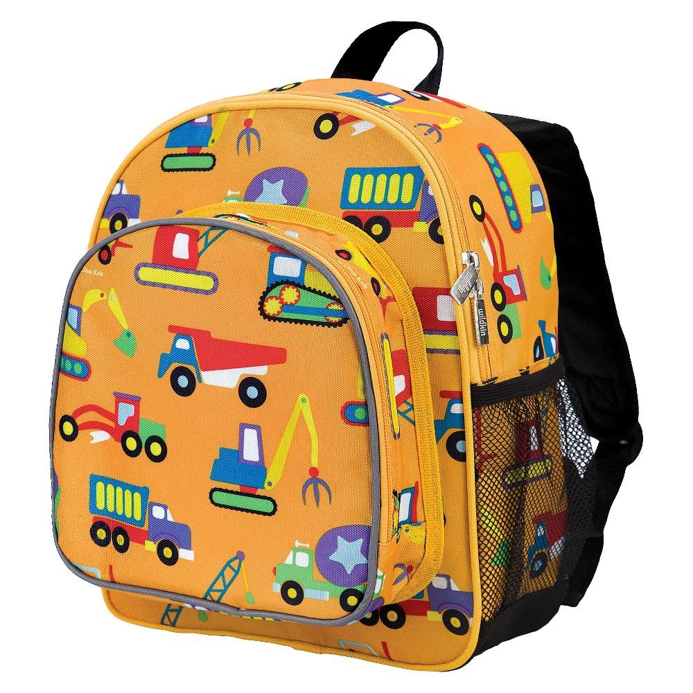 "Image of ""Wildkin 12"""" Olive Under Construction Pack 'n Snack Kids' Backpack - Orange, Yellow"""