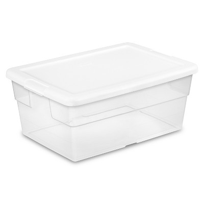 Sterilite 16 Qt Clear Storage Box White Lid