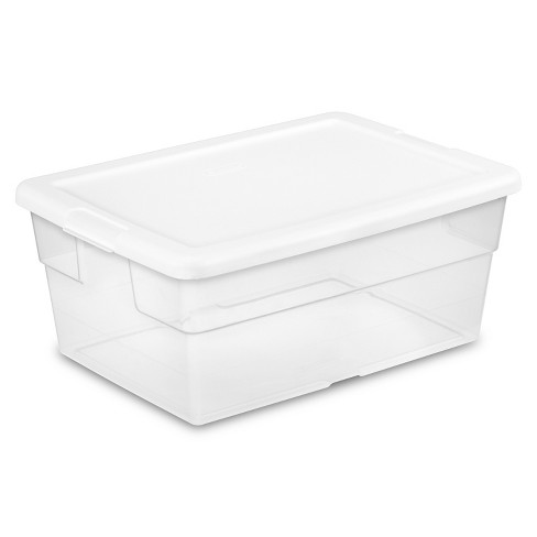 Sterilite 16qt Clear Storage Box with Lid White - image 1 of 3