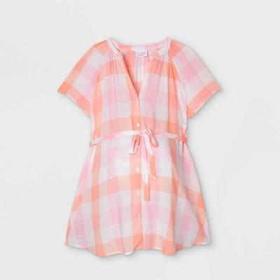 Maternity Short Sleeve Button-Down with Tie Waist Woven Popover Top - Isabel Maternity by Ingrid & Isabel™