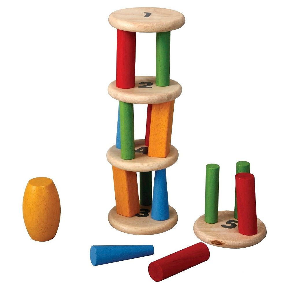 Plan Toys Preschool Tower Tumbling Game and Puzzle