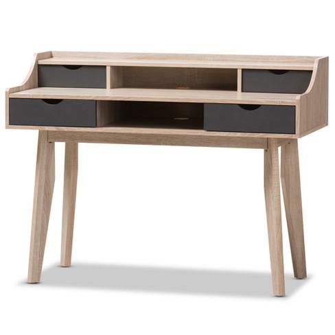 buy online ceb75 d8a03 Fella Mid - Century Modern 4 - Drawer Wood Study Desk - Brown - Baxton  Studio