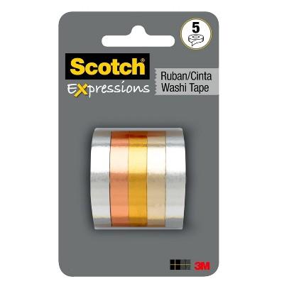 Scotch 5ct Expressions Washi Tape - Metallics