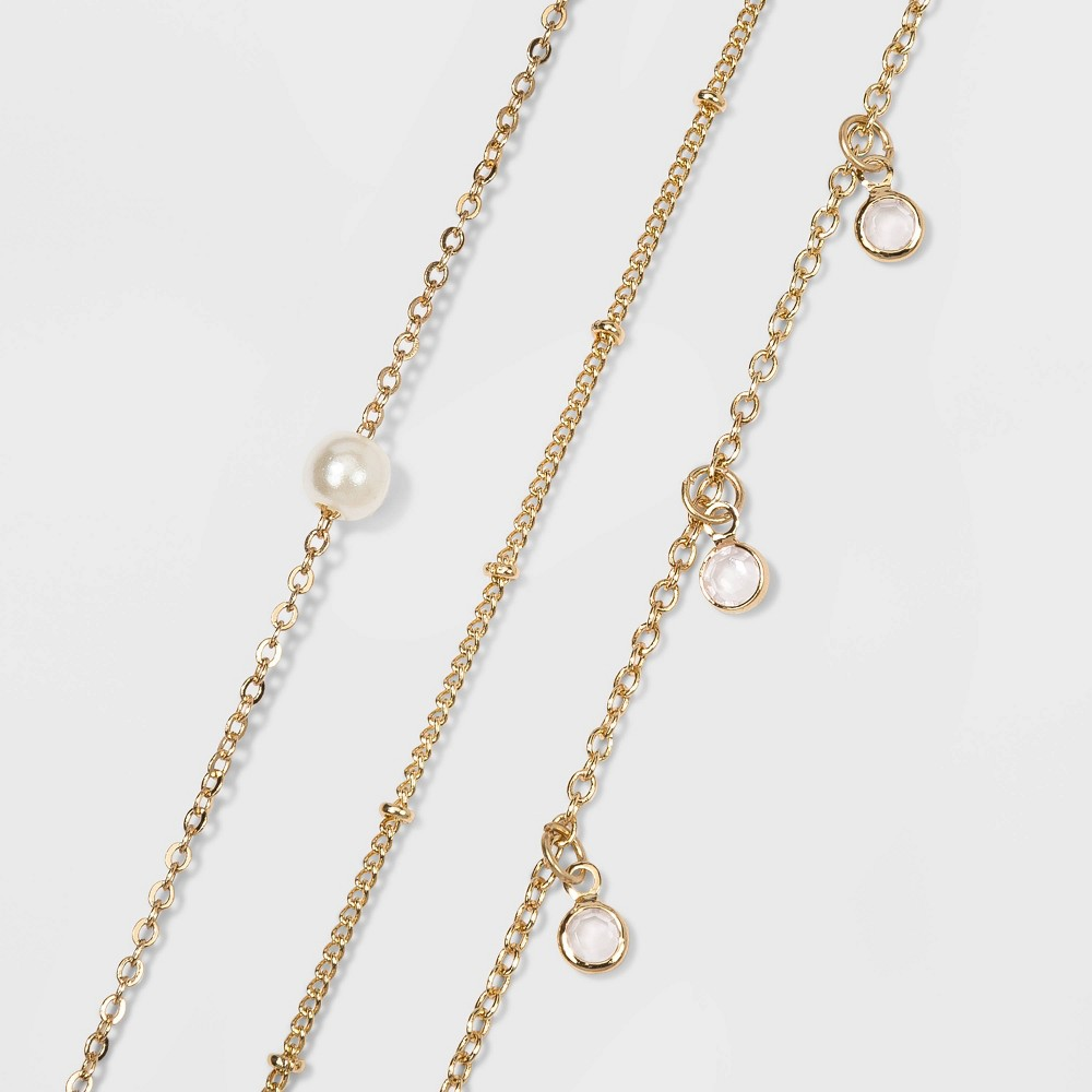 Image of Pearl and Chain Anklet Set - Wild Fable Gold, Women's