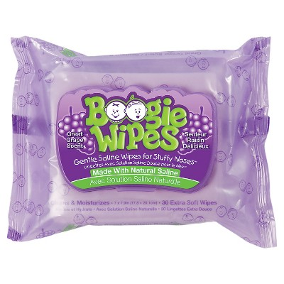 Boogie Wipes Saline Nose Wipes Grape Scent - 30ct
