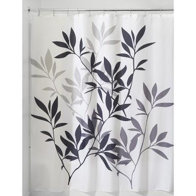 InterDesign Leaves Shower Curtain - Black/Gray