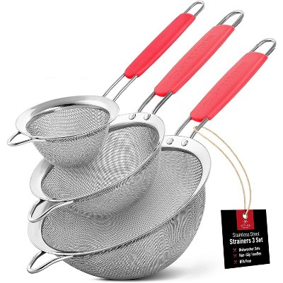 """Zulay Kitchen Stainless Steel Mesh Strainer Set of 3 - 3.3"""", 5.5"""", 7.5"""" Sizes"""